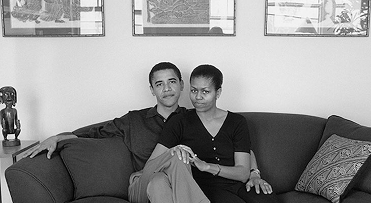 A young Barack and Michelle Obama in their Chicago home. Source: ©Mariana Cook 1996