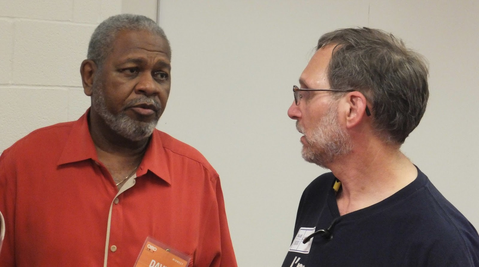 "David Rice (left) swaps ideas with Scott ""Spike"" Radway at a 2013 OBD event in Cleveland, Ohio."