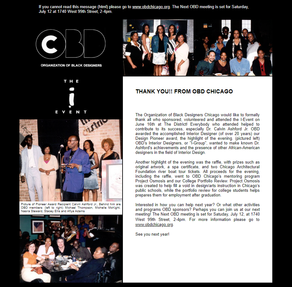 A screenshot from the Organization of Black Designers Chicago chapter.