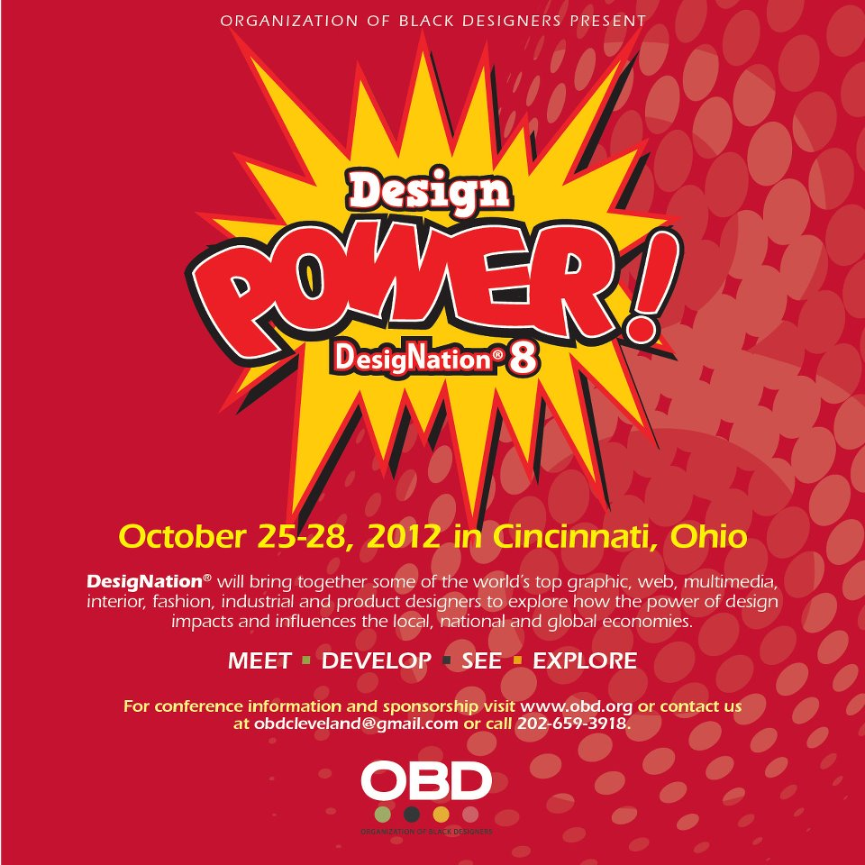 A flyer advertising OBD's Design Power! DesigNation 8 conference in Cincinnati, OH in 2012.